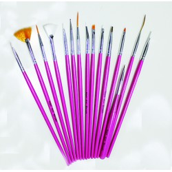 Nail Art Brush 15pcs (pink)